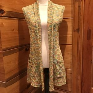 Multi Color Sleeveless Cardigan with Pockets